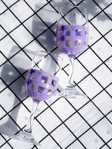 glasses hand painted with lilac and peach tartan pattern