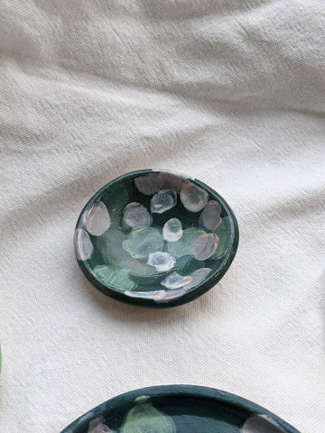 Hand painted small trinket dish in green colour palette