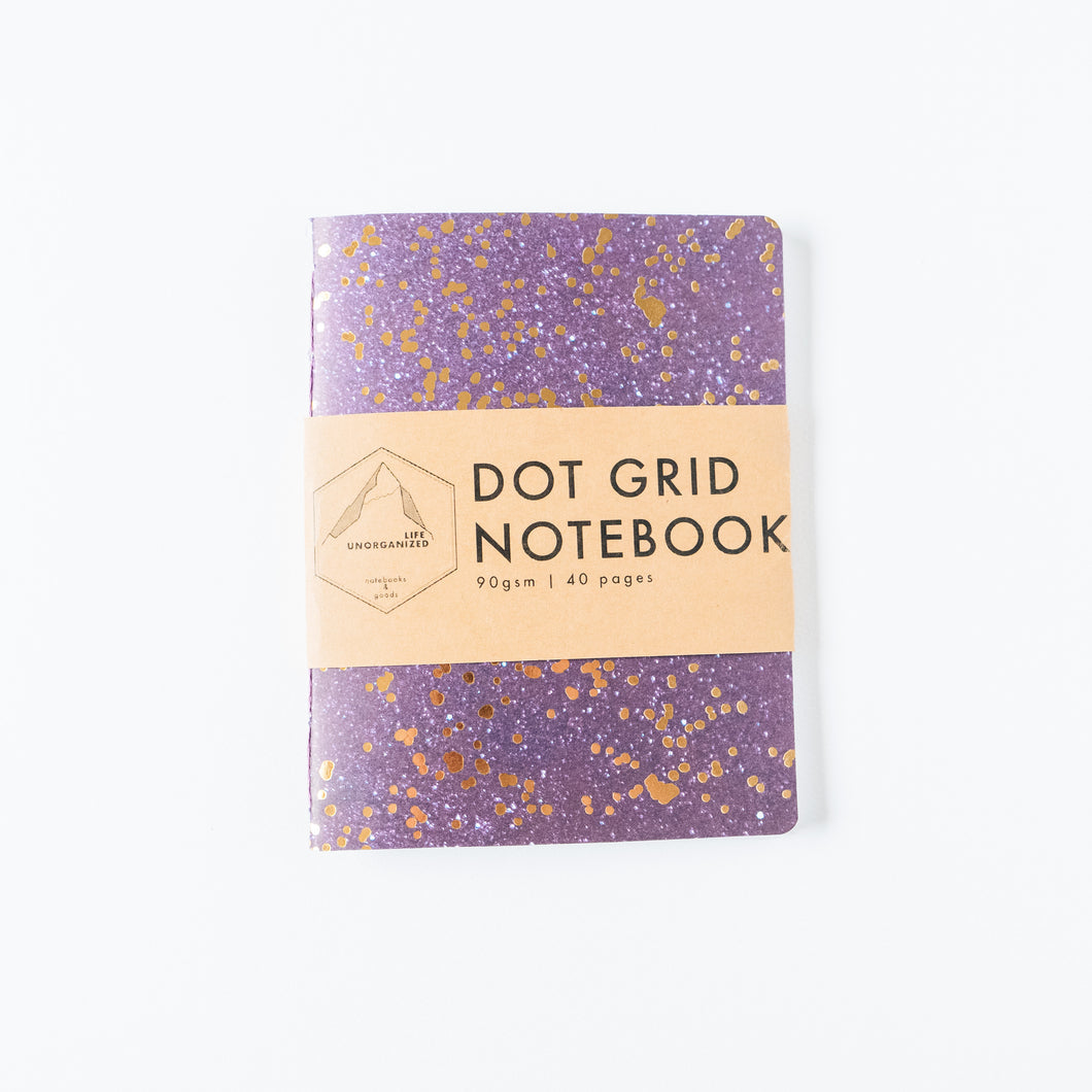 Purple & Gold Galaxy | Small Dotted Notebook