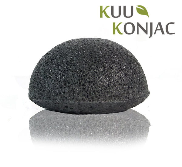 KUU Konjac Bamboo Charcoal Sponge Ideal For Teen/ Oily / Acne Prone Skin
