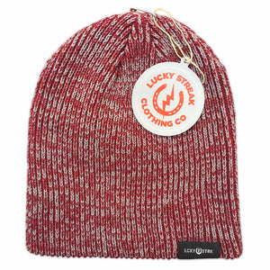 Soft Lucky Beanie Maroon and Grey