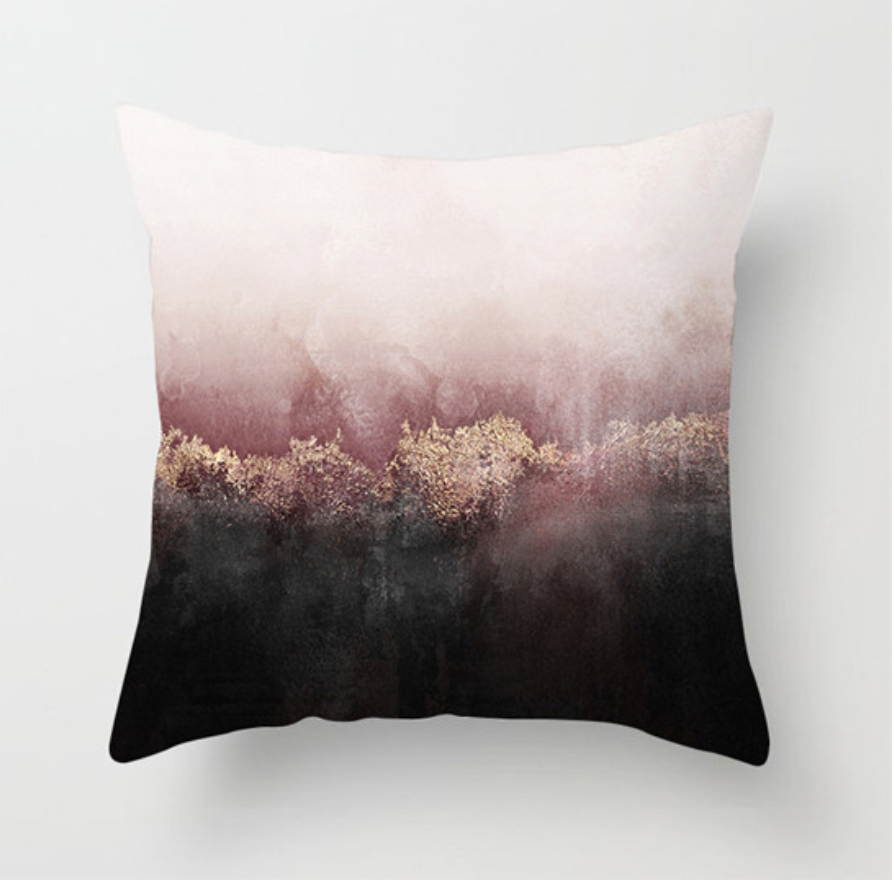 Scenery Pink/Black Decorative Pillow