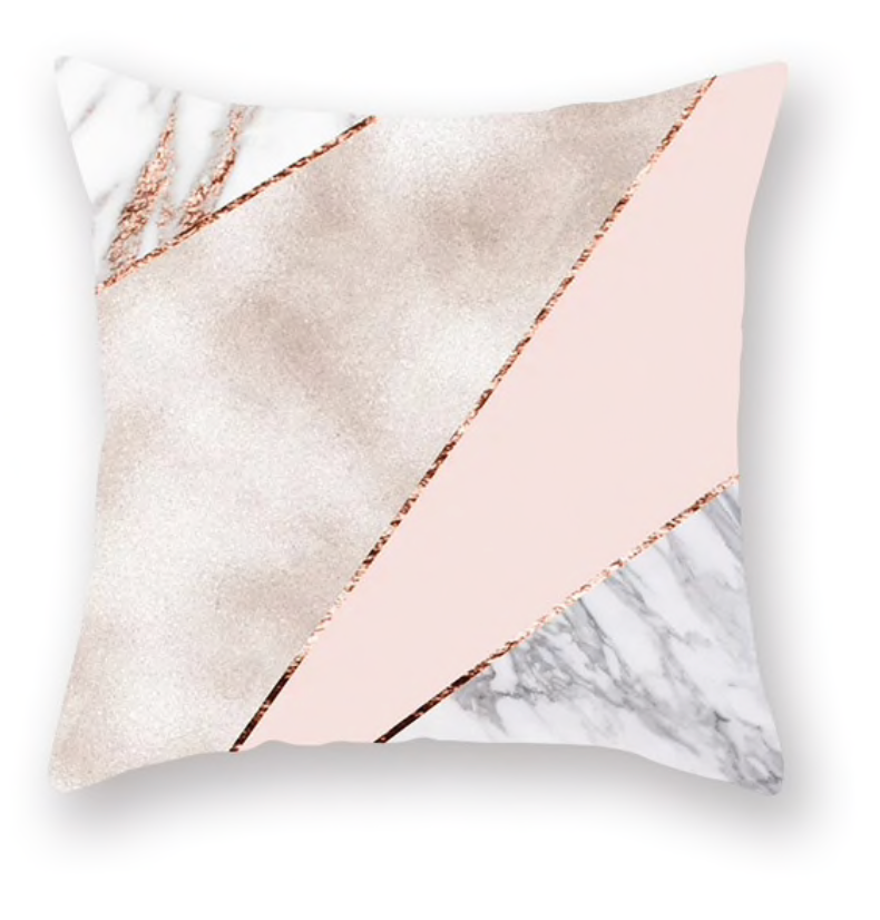 Color Block Marble Pattern and Pink Decorative Pillow