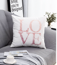 Load image into Gallery viewer, LOVE Glitter Pink and White Decorative Pillow