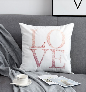 LOVE Glitter Pink and White Decorative Pillow