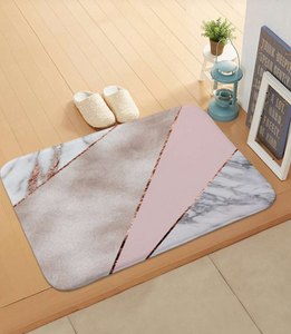 Color Block Marble Pattern and Pink Bath Mat