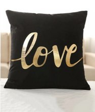 Load image into Gallery viewer, Golden Love Velvet Decorative Pillow