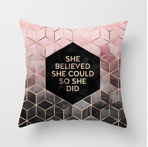"Pink/Grey ""She Believed She Could So She Did"" Pillow"
