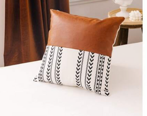 Faux Leather Patchwork Pillow