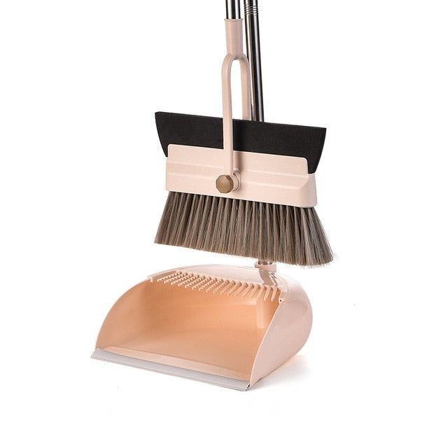 Cleansco 2-In-1 Foldable Broom Set