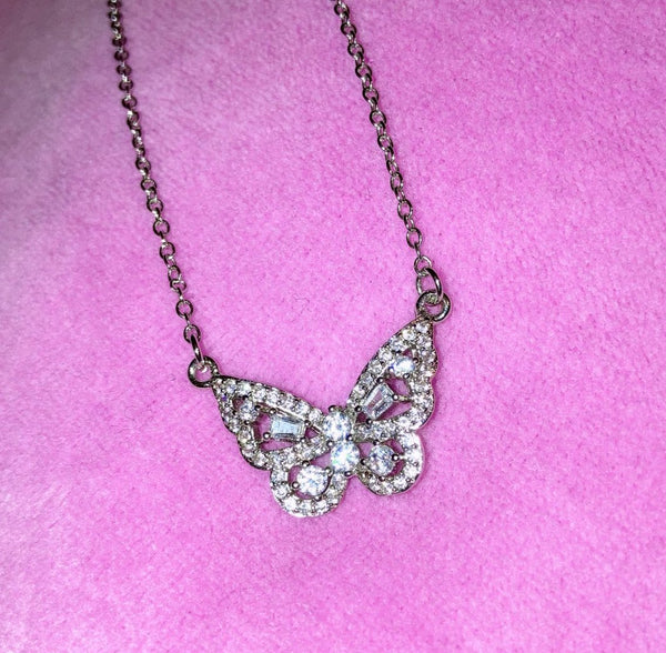 sparkly butterfly necklace