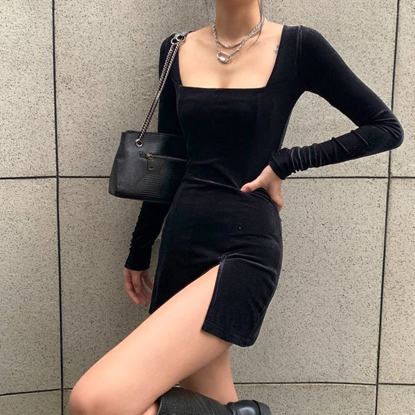 velvet square neck dress