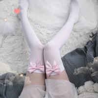 pink bow stockings