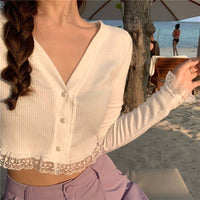lacey cropped cardigan