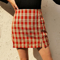 blue plaid skirt