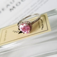 pink rhinestone heart ring