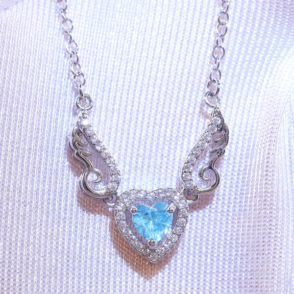 blue winged heart necklace