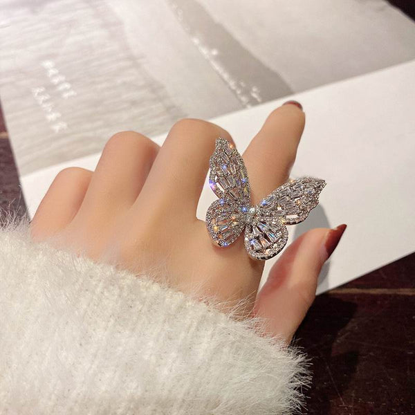 bling butterfly ring