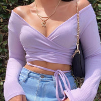 lavender belle sleeve top