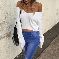 white belle sleeve sweater