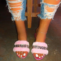 fluffy rhinestone slippers