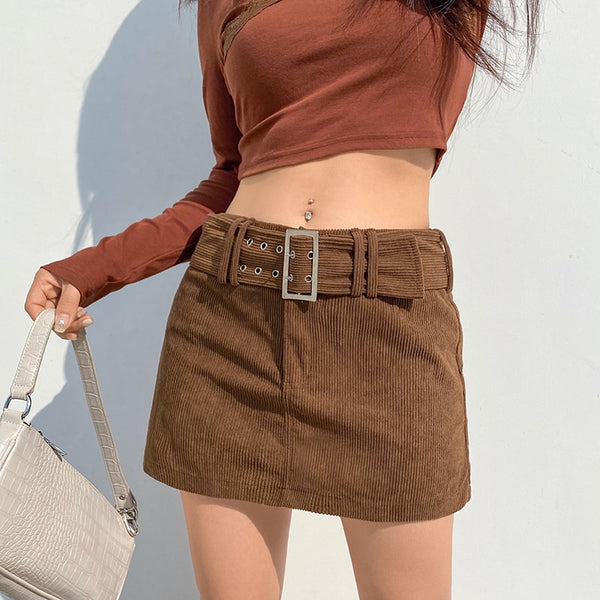 y2k belt mini skirt