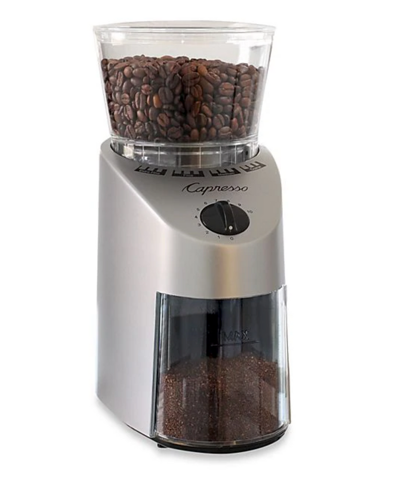 Capresso® Infinity Silver Conical Burr Coffee Grinder