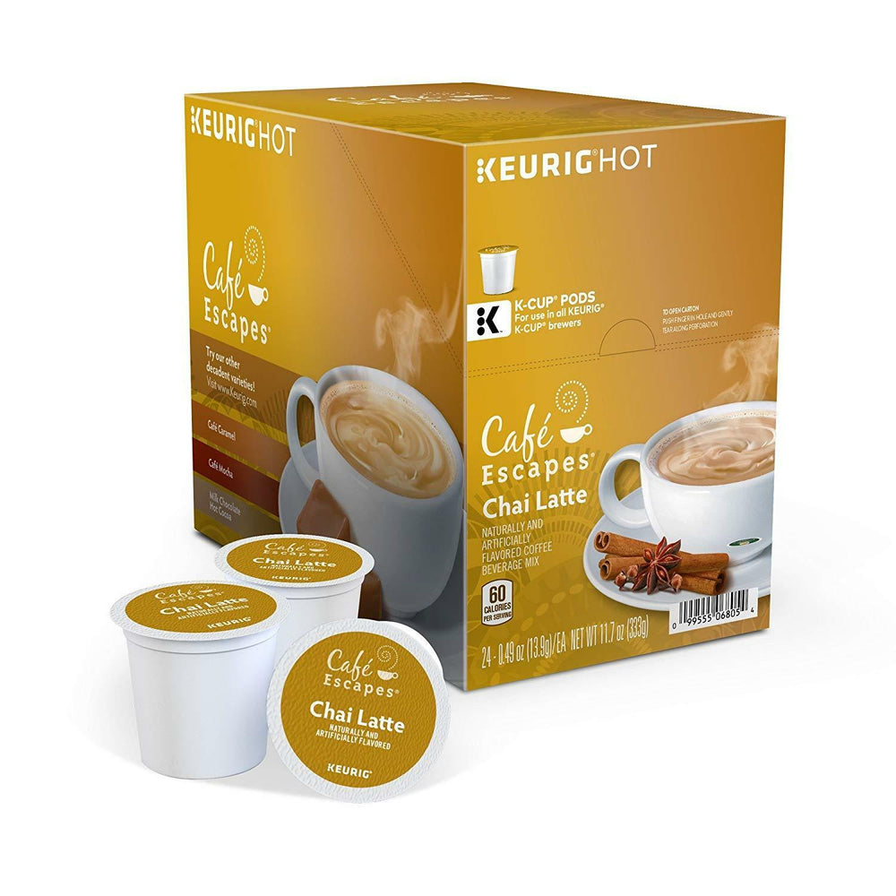 Load image into Gallery viewer, GMCR K CUP Cafe Escapes Chai Latte 24 CT
