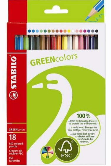 STABILO GREEN colors FSC-certified coloured pencil cardboard wallet of 18 colours