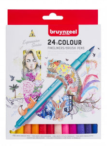 Bruynzeel Set of Fineliner Brush Pens - 24 pcs