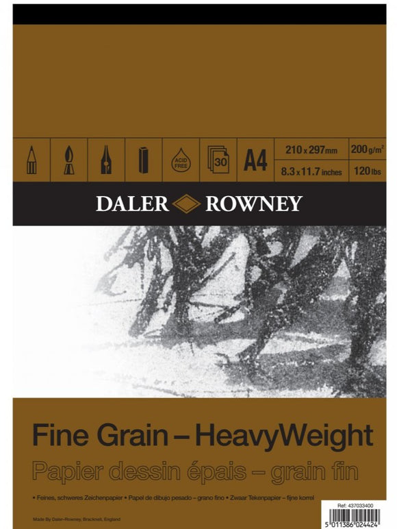 DALER ROWNEY A4 FINE GRAIN DRAWING PAD 200GSM 30 SHEETS