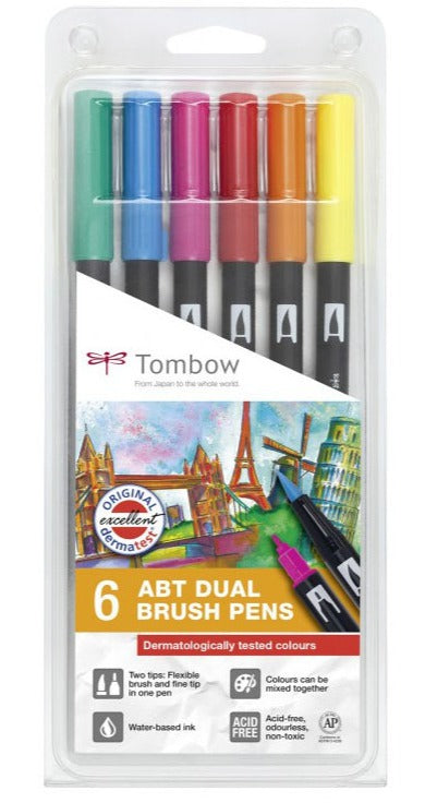 Dual Brush Pen Set -  Tombow - 6 pcs.