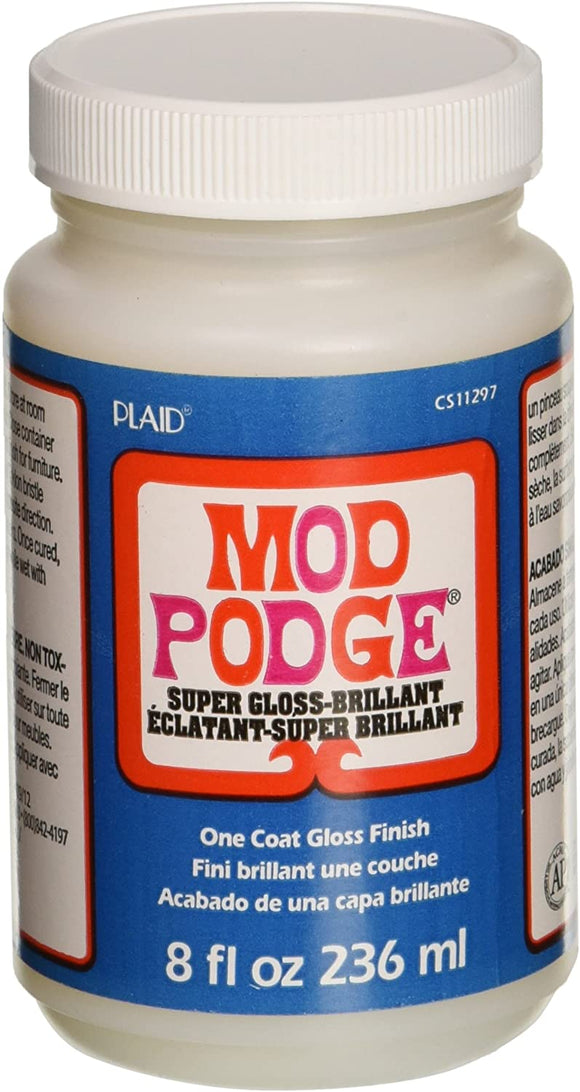 Mod Podge 8 oz Super Gloss Finish- brillant, one coat gloss finish.