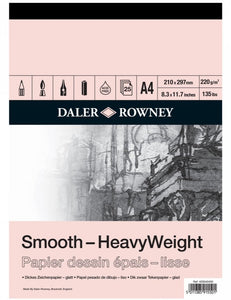 DALER ROWNEY A4 HEAVY WEIGHT CARTRIDGE PAD 220GSM 25 SHEETS