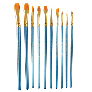 10pcs watercolor acrylic Brushes Set nylon wool long rod round head flat head brushes for children's art supplies