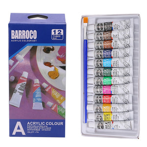 6 ml 12 Color Professional Acrylic Paints Set Hand Painted Wall Paint Tubes Artist Draw Painting Pigment Free Brush