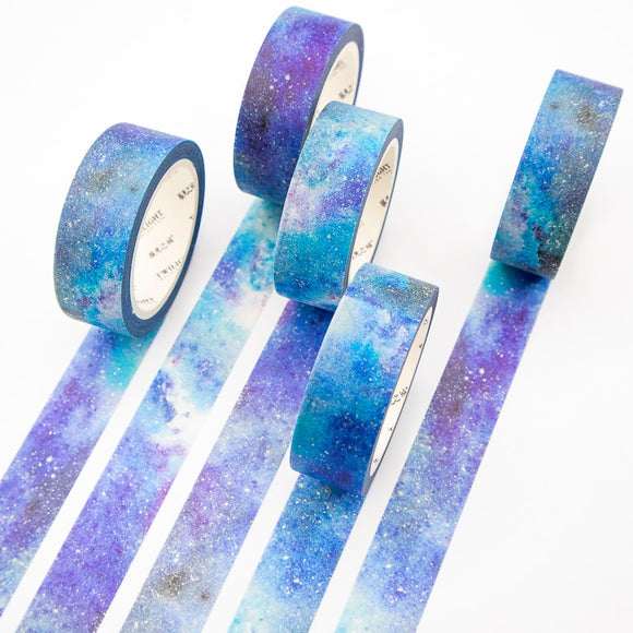 Blue Starry Sky Washi Tape Sticky Color Decorative Masking Paper Tape Set DIY Decoration Office Stationery Scrapbook 1PCS