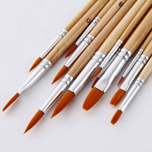 12Pcs Nylon Hair Paint Brush Set Round Tip Pointed Artists Paintbrush for Watercolor Acrylic Oil Painting Art Supplies