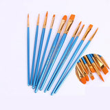 10pcs/Set Artist Paint Nylon Brush Watercolor Acrylic Gouache Brush Set Oil Paint Brush Pearlescent Blue Nylon Hair Brush