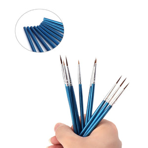 10Pcs Paint Brushes Nylon Hair Artist Brushes for Watercolors Acrylic Round Point Tip Paint Brush Set