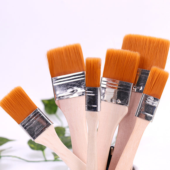 1-6# Nylon Hair Wooden Handle Watercolor Paint Brush Pen for Learning Oil Acrylic Painting Art Paint Brushes Supplies
