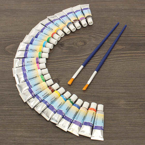 Professional 24 Colors 5ml Paint Tube Gouache Drawing Watercolor + 2 Brushes for Artist School Student Water Paint Hand Painted