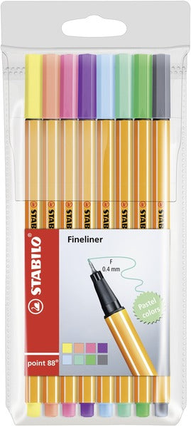 STABILO point 88 fineliner - wallet of 8 pastel colours
