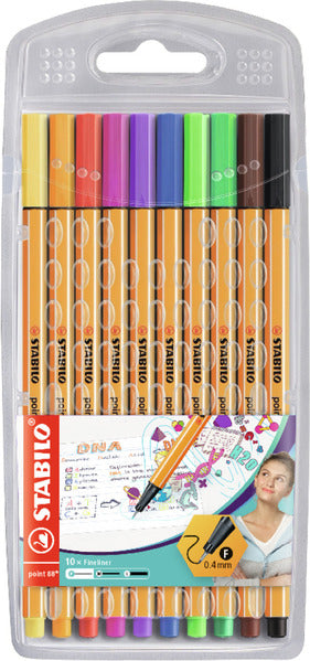 STABILO point 88 fineliner - wallet of 10 colours