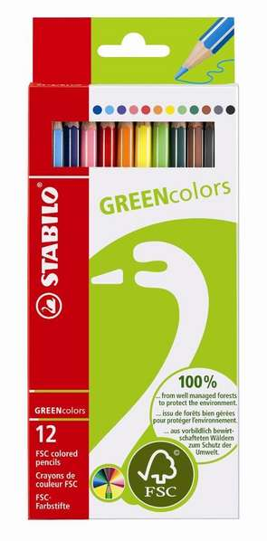 STABILO GREEN colors FSC-certified coloured pencil cardboard wallet of 12 colours