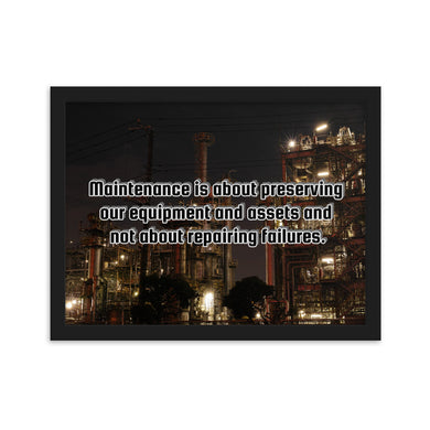 (Code RSA065) Reliability and Maintenance Framed matte paper poster - 2
