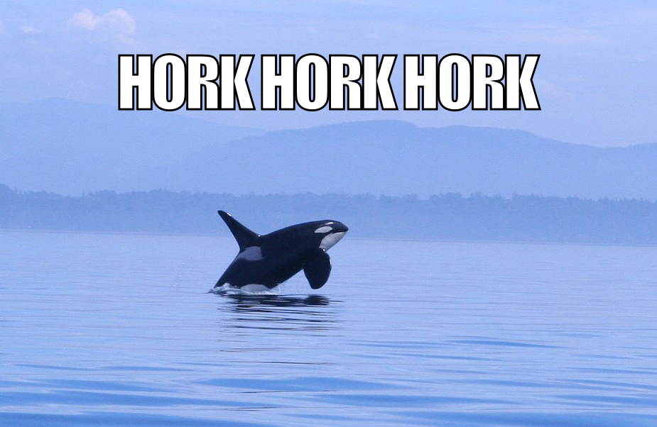 Horking like an orca.
