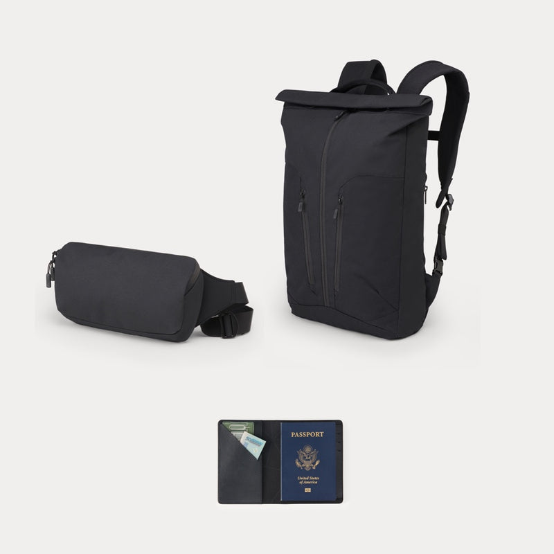 Minaal Essentialist Bundle - Rolltop bag, Crossbody bag and Travel Wallet