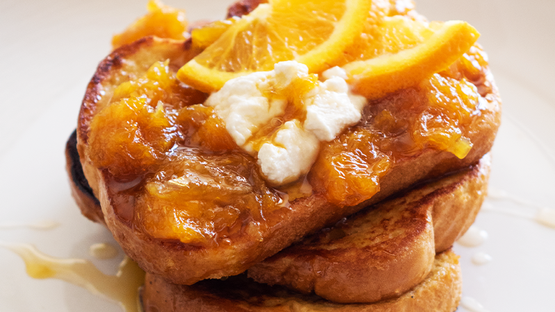 french toast stack with oranges and neocheese