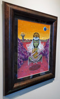Four of pentacles, 78 tarot original acrylic painting